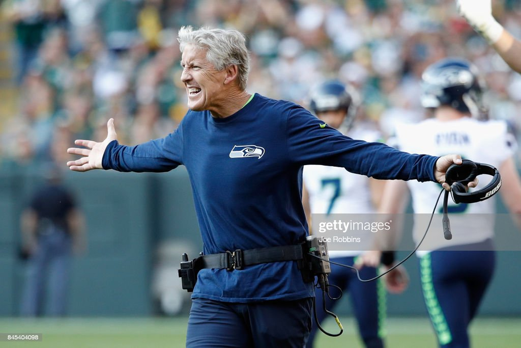 Head coach Pete Carroll of the Seattle Seahawks reacts to a play during the second half against the Green Bay Packers at Lambeau Field on September 10, 2017 in Green Bay, Wisconsin.