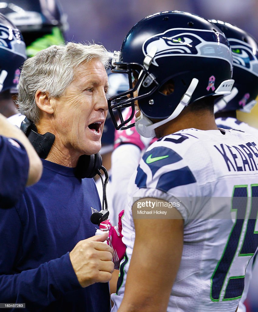 Head coach <a gi-track='captionPersonalityLinkClicked' href=/galleries/search?phrase=Pete+Carroll+-+Head+Coach&family=editorial&specificpeople=213057 ng-click='$event.stopPropagation()'>Pete Carroll</a> of the Seattle Seahawks talks with Jermaine Kearse #15 of the Seattle Seahawks during a timeout against the Indianapolis Colts at Lucas Oil Stadium on October 6, 2013 in Indianapolis, Indiana. Indianapolis defeated Seattle 34-28.