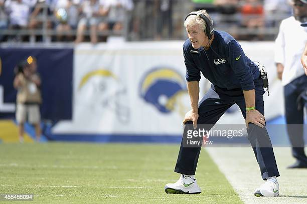 Head coach Pete Carroll of the Seattle Seahawks watches from the sideline while playing the San Diego Chargers at Qualcomm Stadium on September 14...