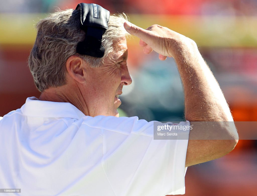 Head coach Pete Carroll of the Seattle Seahawks watches his team against the Miami Dolphins at Sun Life Stadium on November 25, 2012 in Miami Gardens, Florida.