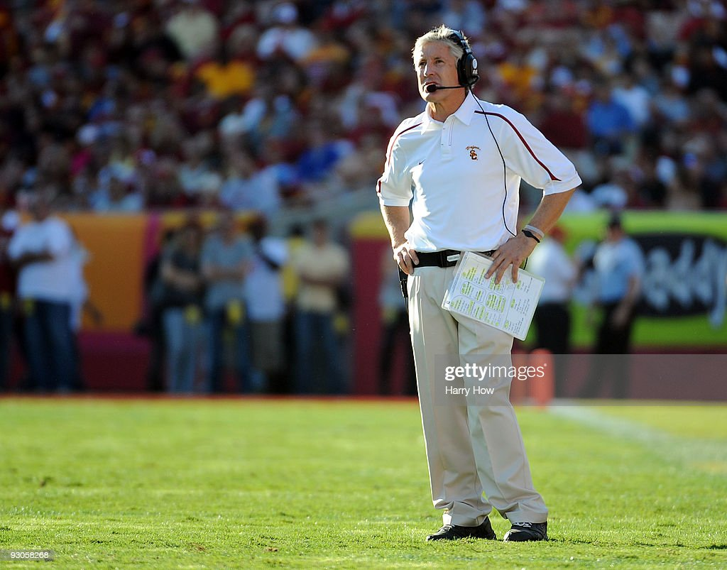 Head Coach Pete Carroll of the USC Trojans reacts after a touchdown to the Stanford Cardinal to trail 42-21 during the second half at the Los Angeles Memorial Coliseum on November 14, 2009 in Los Angeles, California.