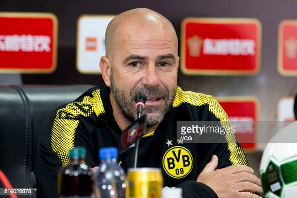Head coach Peter Bosz attends a press conference of Borussia Dortmund ahead of 2017 International Champions Cup China on July 17 2017 in Guangzhou...