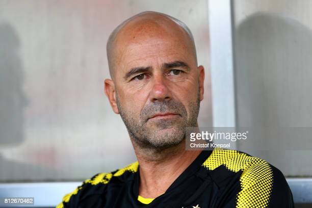 Head coach Peter Bosz d00 looks on prior to the preseason friendly match between RotWeiss Essen and Borussia Dortmund at Stadion Essen on July 11...