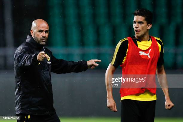 Head coach Peter Bosz of Borussia Dortmund attends a training at University Town Sports Centre Stadium ahead of 2017 International Champions Cup...