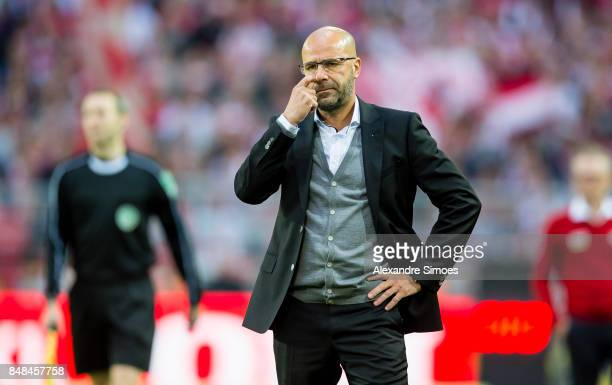 Head coach Peter Bosz of Borussia Dortmund during the Bundesliga match between Borussia Dortmund and 1 FC Koeln at the Signal Iduna Park on September...
