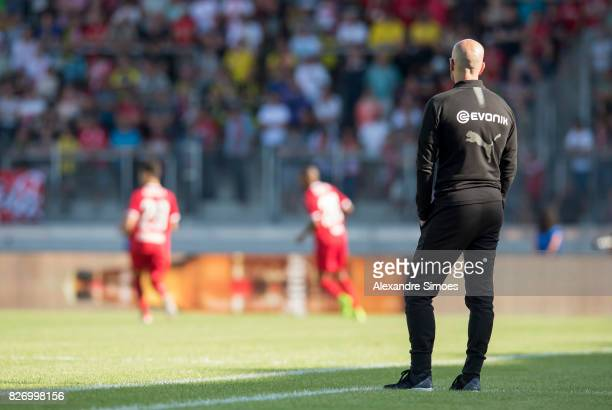 Head coach Peter Bosz of Borussia Dortmund in action during the preseason friendly match between RotWeiss Erfurt and Borussia Dortmund at the...