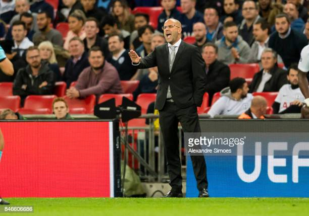 Head coach Peter Bosz of Borussia Dortmund in action during the UEFA Champions League First Qualifying Round 1st Leg match between Tottenham Hotspur...