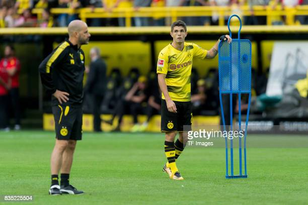 Head coach Peter Bosz of Dortmund and Christian Pulisic of Dortmund looks on during the Borussia Dortmund Season Opening 2017/18 at Signal Iduna Park...
