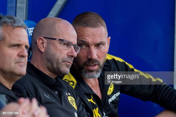 Head coach Peter Bosz of Dortmund and Cocoach Hendrie Kruezen of Dortmund looks onduring the preseason friendly match between VfL Bochum and Borussia...