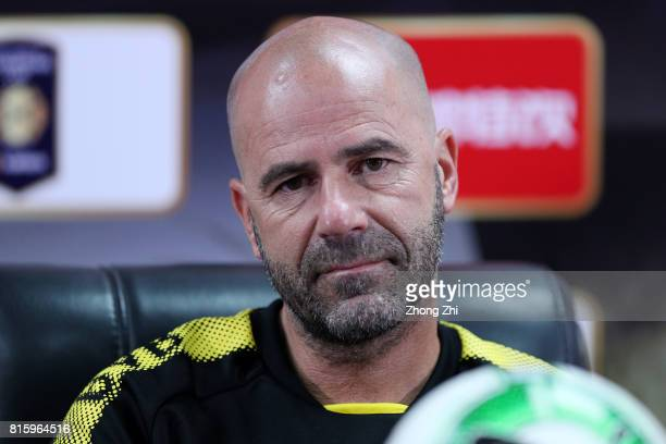 Head coach Peter Bosz of Dortmund attends press conference ahead of the 2017 International Champions Cup football match between AC Milan and Borussia...