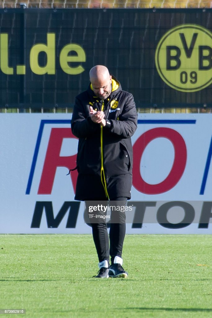 Head coach Peter Bosz of Dortmund gestures during a training session at BVB trainings center on November 5, 2017 in Dortmund.
