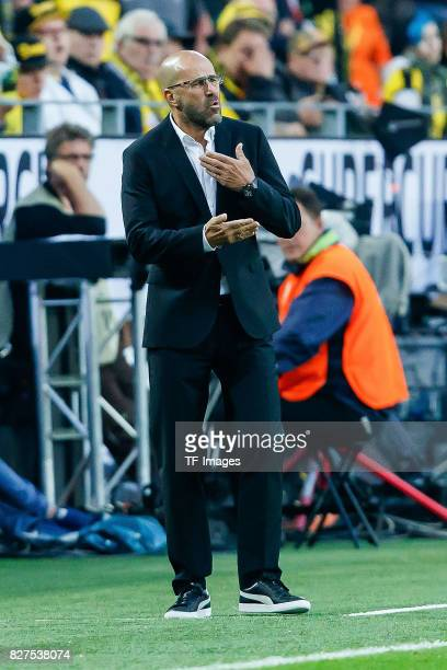 Head coach Peter Bosz of Dortmund gestures during the DFL Supercup 2017 match between Borussia Dortmund and Bayern Muenchen at Signal Iduna Park on...
