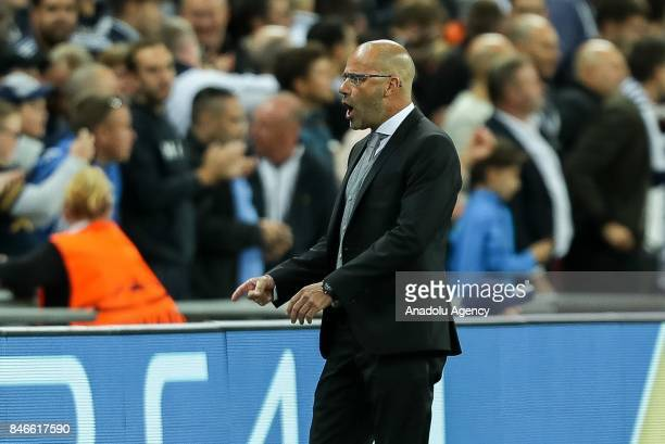 Head coach Peter Bosz of Dortmund gestures during the UEFA Champions League group H match between Tottenham Hotspur and Borussia Dortmund at...