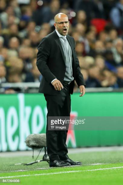 Head coach Peter Bosz of Dortmund gestures during the UEFA Champions League group H match between Tottenham Hotspur and Borussia Dortmund at Wembley...