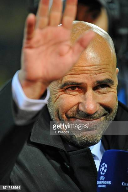 Head coach Peter Bosz of Dortmund gestures during the UEFA Champions League Group H soccer match between Borussia Dortmund and APOEL Nicosia at...