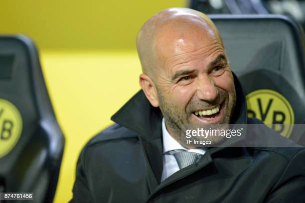 Head coach Peter Bosz of Dortmund laughs during the UEFA Champions League Group H soccer match between Borussia Dortmund and APOEL Nicosia at...