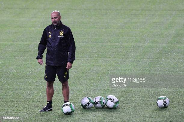 Head coach Peter Bosz of Dortmund looks on duirng training session ahead of the 2017 International Champions Cup football match between AC Milan and...