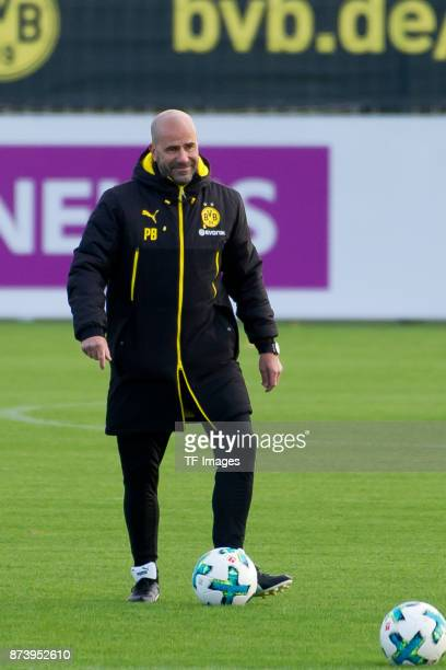 Head coach Peter Bosz of Dortmund looks on during a training session at BVB trainings center on November 5 2017 in Dortmund