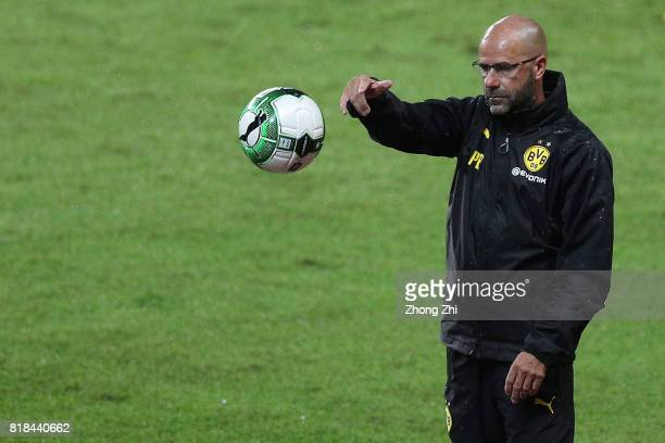 Head coach Peter Bosz of Dortmund looks on during the 2017 International Champions Cup football match between AC Milan and Borussia Dortmund at...