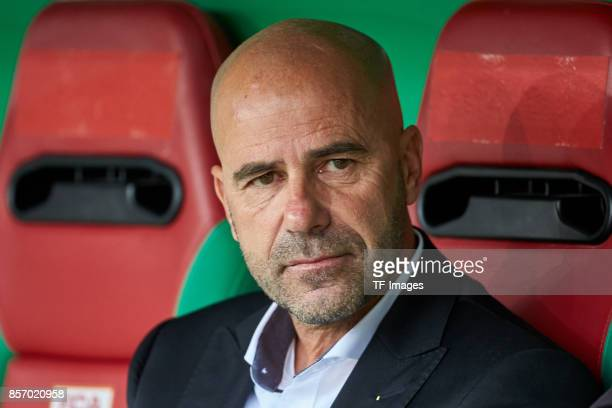 Head coach Peter Bosz of Dortmund looks on during the Bundesliga match between FC Augsburg and Borussia Dortmund at WWKArena on September 30 2017 in...