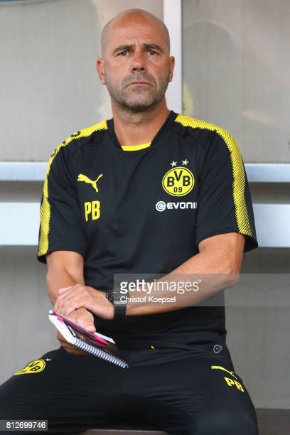 Head coach Peter Bosz of Dortmund looks on during the preseason friendly match between RotWeiss Essen and Borussia Dortmund at Stadion Essen on July...