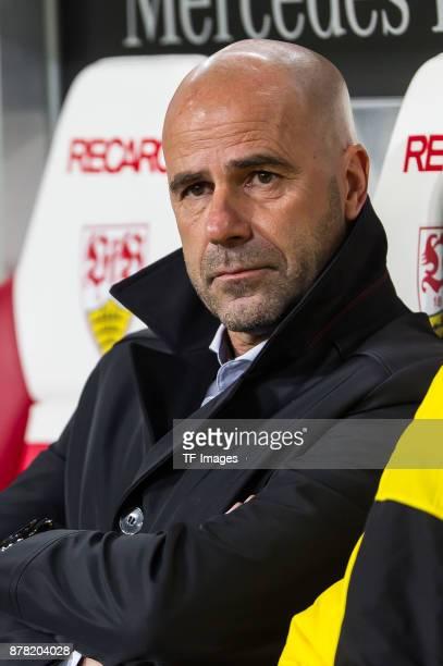 Head coach Peter Bosz of Dortmund looks on prior the Bundesliga match between VfB Stuttgart and Borussia Dortmund at MercedesBenz Arena on November...