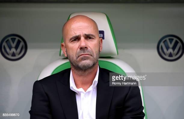 Head coach Peter Bosz of Dortmund looks on prior to the Bundesliga match between VfL Wolfsburg and Borussia Dortmund at Volkswagen Arena on August 19...