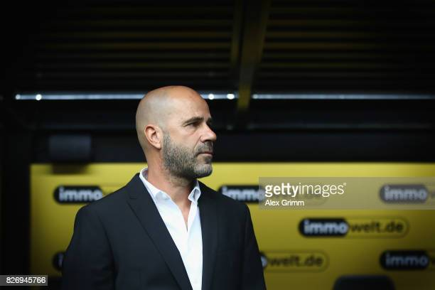 Head coach Peter Bosz of Dortmund looks on prior to the DFL Supercup 2017 match between Borussia Dortmund and Bayern Muenchen at Signal Iduna Park on...
