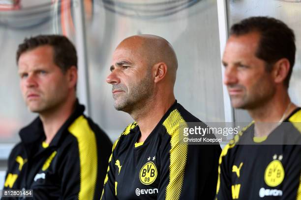 Head coach Peter Bosz of Dortmund looks on prior to the preseason friendly match between RotWeiss Essen and Borussia Dortmund at Stadion Essen on...