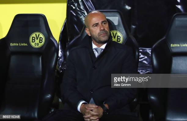 Head coach Peter Bosz of Dortmund looks on prior to the UEFA Champions League group H match between Borussia Dortmund and APOEL Nikosia at Signal...