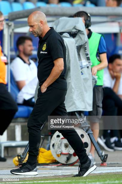 Head coach Peter Bosz of Dortmund looks thoughtful during the preseason friendly match between VfL Bochum and Borussia Dortmund at Vonovia...