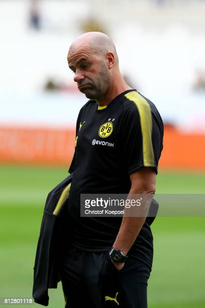 Head coach Peter Bosz of Dortmund looks thoughtful prior to the preseason friendly match between RotWeiss Essen and Borussia Dortmund at Stadion...