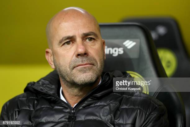 Head coach Peter Bosz of Dortmund looks thoughtful prior to the Bundesliga match between Borussia Dortmund and FC Schalke 04 at Signal Iduna Park on...
