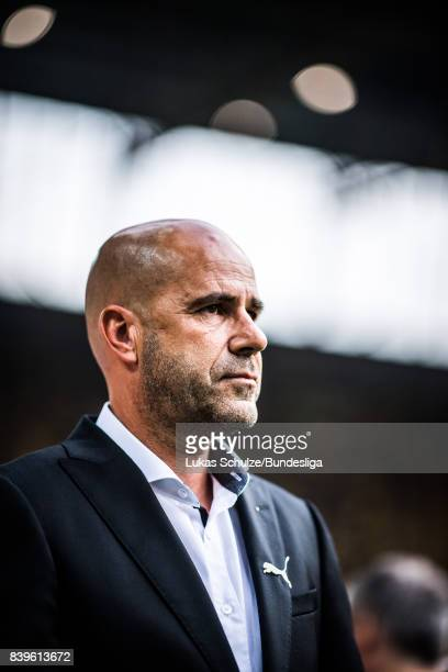 Head Coach Peter Bosz of Dortmund looks up prior to the Bundesliga match between Borussia Dortmund and Hertha BSC at Signal Iduna Park on August 26...