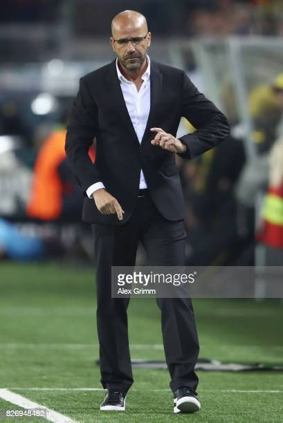 Head coach Peter Bosz of Dortmund reacts during the DFL Supercup 2017 match between Borussia Dortmund and Bayern Muenchen at Signal Iduna Park on...