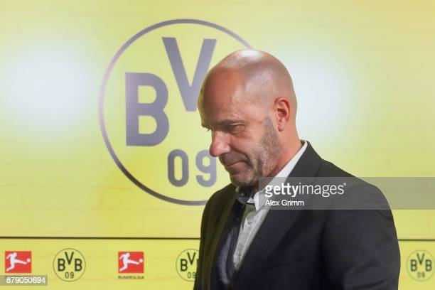 Head coach Peter Bosz of Dortmund reacts during the press conference after the Bundesliga match between Borussia Dortmund and FC Schalke 04 at Signal...