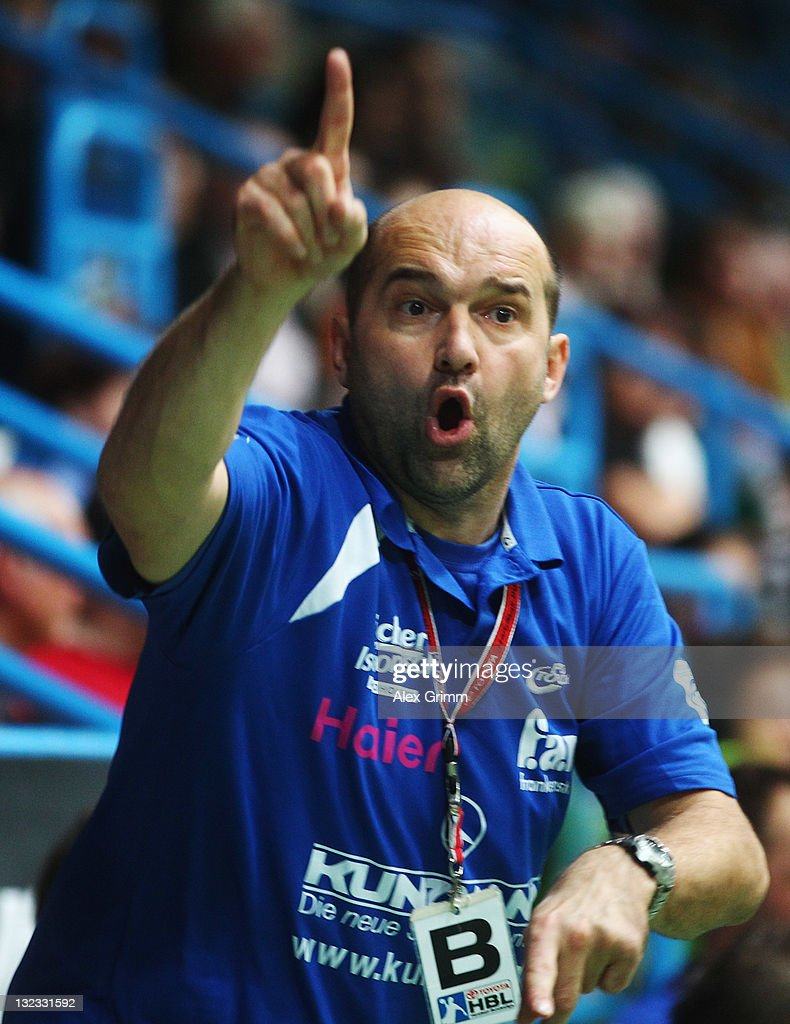 Head coach Peter David of Grosswallstadt reacts during the Toyota Handball Bundesliga match between T VGrosswallstadt and MT Melsungen at f.a.n. frankenstolz arena on November 11, 2011 in Aschaffenburg, Germany.