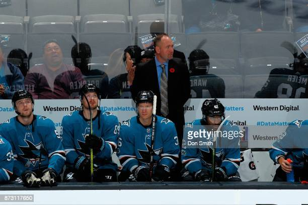Head Coach Peter DeBoer looks during a NHL game against the Tampa Bay Lightning at SAP Center on November 8 2017 in San Jose California