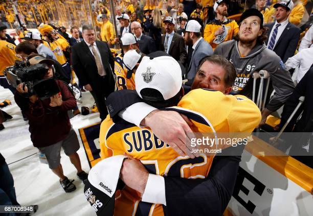 Head coach Peter Laviolette hugs PK Subban of the Nashville Predators after a 63 series win against the Anaheim Ducks in Game Six of the Western...