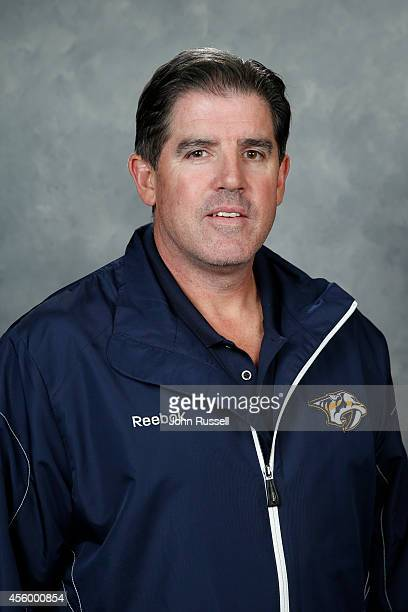 Head coach Peter Laviolette of the Nashville Predators poses for his official headshot for the 20142015 season on September 18 2014 at the...