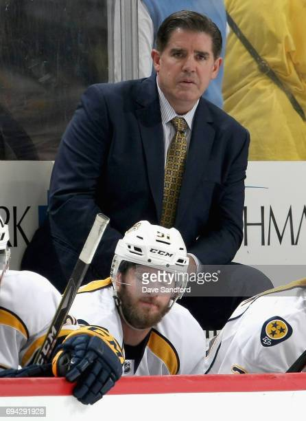 Head coach Peter Laviolette of the Nashville Predators watches his team play during the third period of Game Five of the 2017 NHL Stanley Cup Final...