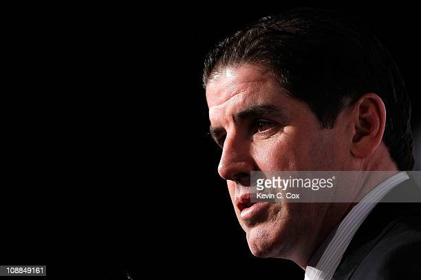 Head coach Peter Laviolette of the Philadelphia Flyers answers questions during NHL All Star Player Media Availability apart of the 2011 NHL AllStar...