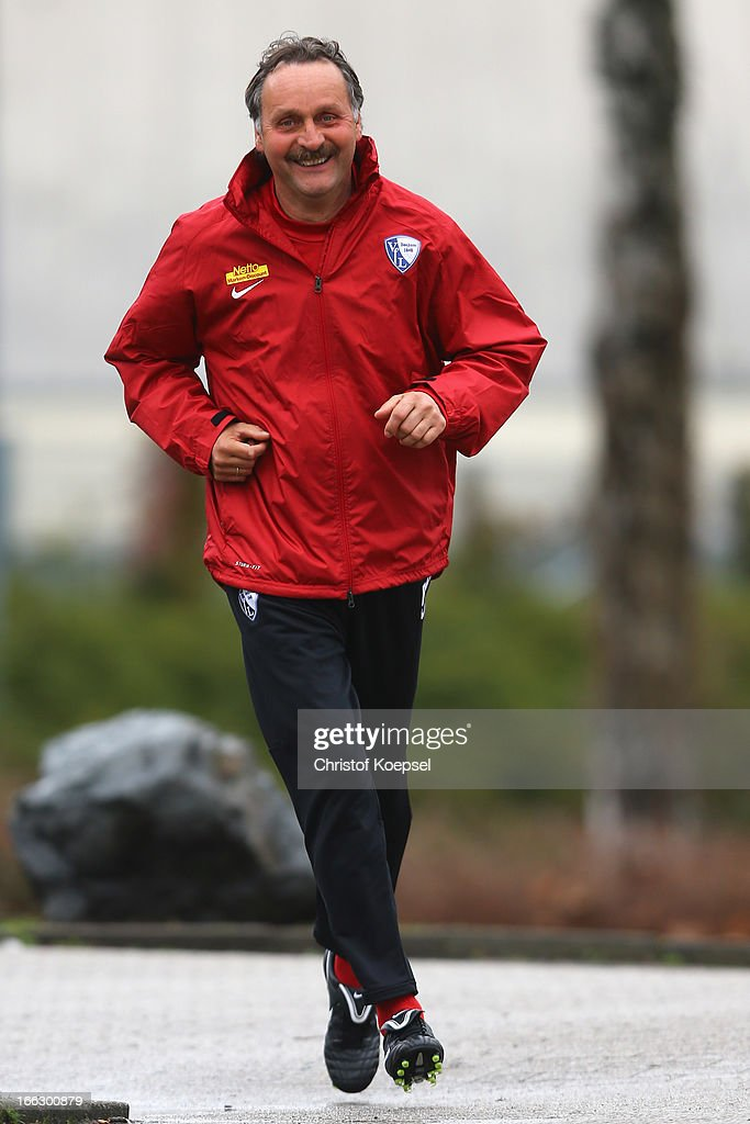 Head coach Peter Neururer attends the training session of VfL Bochum at Castroper Strasse training ground on April 11 2013 in Bochum Germany