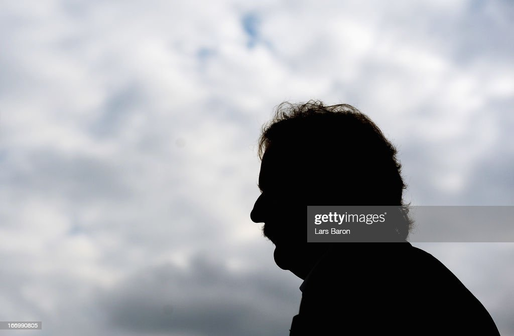 Head coach Peter Neururer of Bochum is seen prior to the Second Bundesliga match betweeen VfL Bochum and FC St Pauli at Rewirpower Stadium on April...