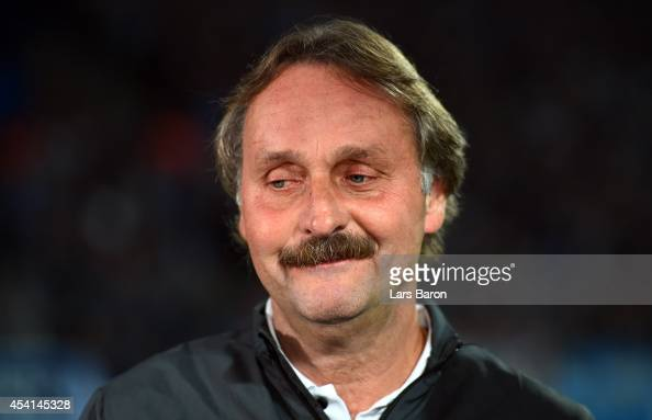Head coach Peter Neururer of Bochum is seen prior to the Second Bundesliga match between VfL Bochum and 1 FC Union Berlin at Rewirpower Stadium on...
