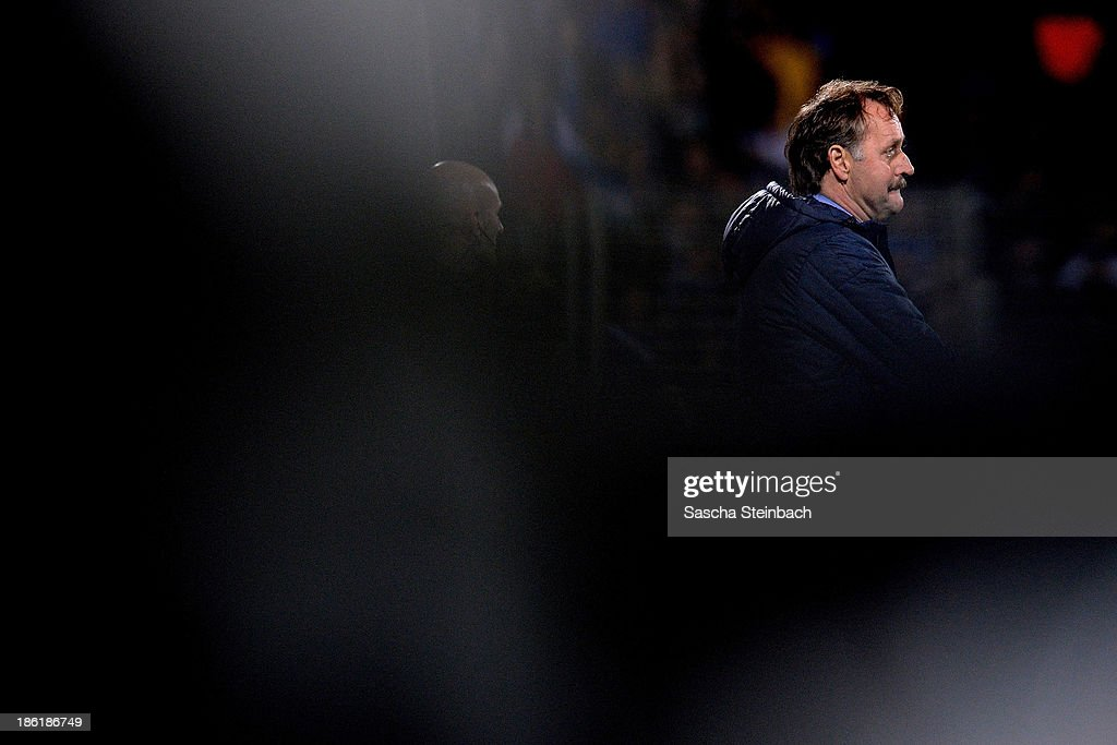 Head coach Peter Neururer of Bochum looks on during the Second Bundesliga match between VfL Bochum and 1. FC Kaiserslautern at Rewirpower Stadion on October 28, 2013 in Bochum, Germany.