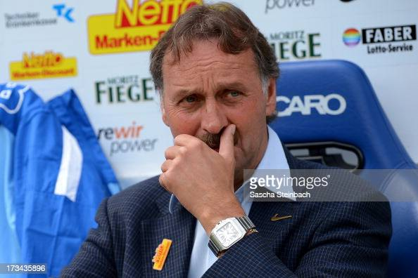 Head coach Peter Neururer of Bochum looks on prior to the preseason friendly match between VfL Bochum and Aston Villa at Rewirpower Stadium on July...