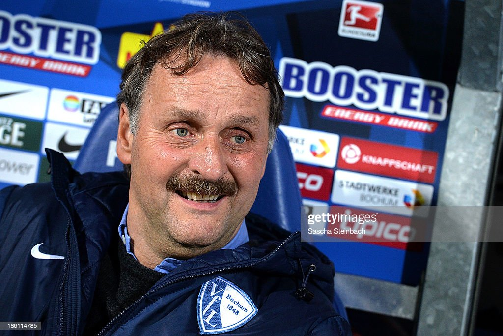 Head coach <a gi-track='captionPersonalityLinkClicked' href=/galleries/search?phrase=Peter+Neururer&family=editorial&specificpeople=214567 ng-click='$event.stopPropagation()'>Peter Neururer</a> of Bochum looks on prior to the Second Bundesliga match between VfL Bochum and 1. FC Kaiserslautern at Rewirpower Stadion on October 28, 2013 in Bochum, Germany.