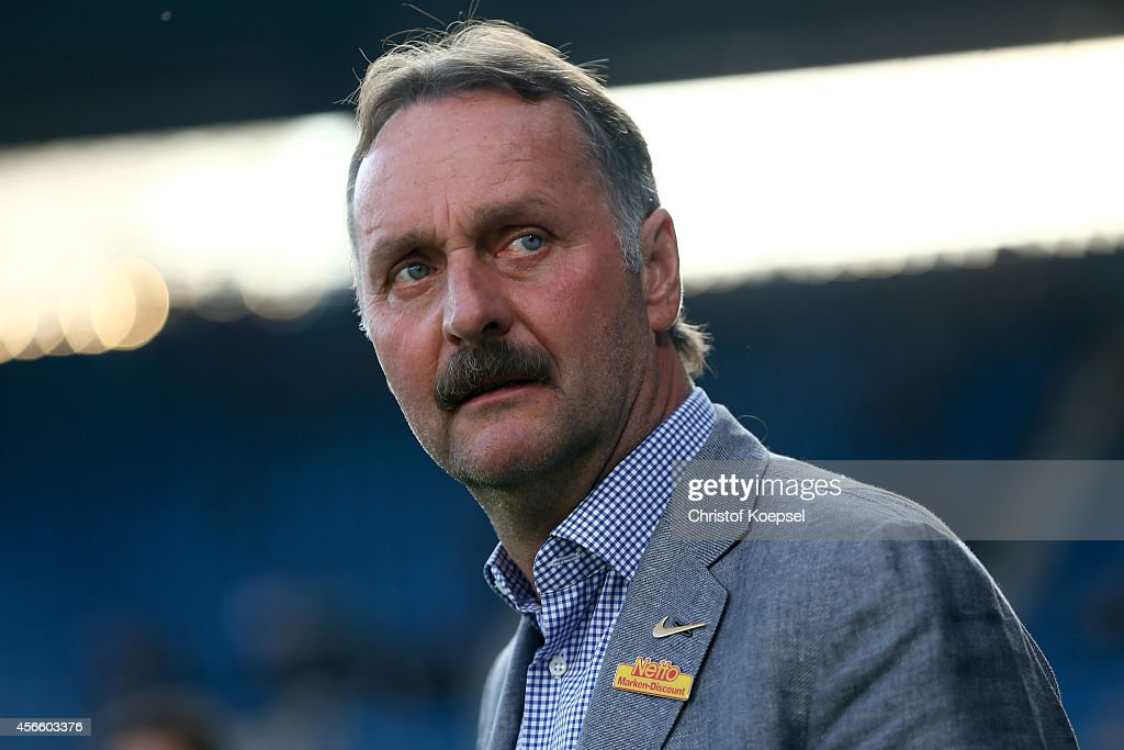 Head coach Peter Neururer of Bochum looks on prior to the Second Bundesliga match between VfL Bochum and 1 FC Nuernberg at Rewirpower Stadium on...