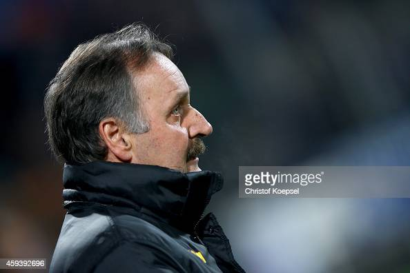 Head coach Peter Neururer of Bochum looks on prior to the Second Bundesliga match between VfL Bochum and VfR Aalen at Rewirpower Stadium on November...